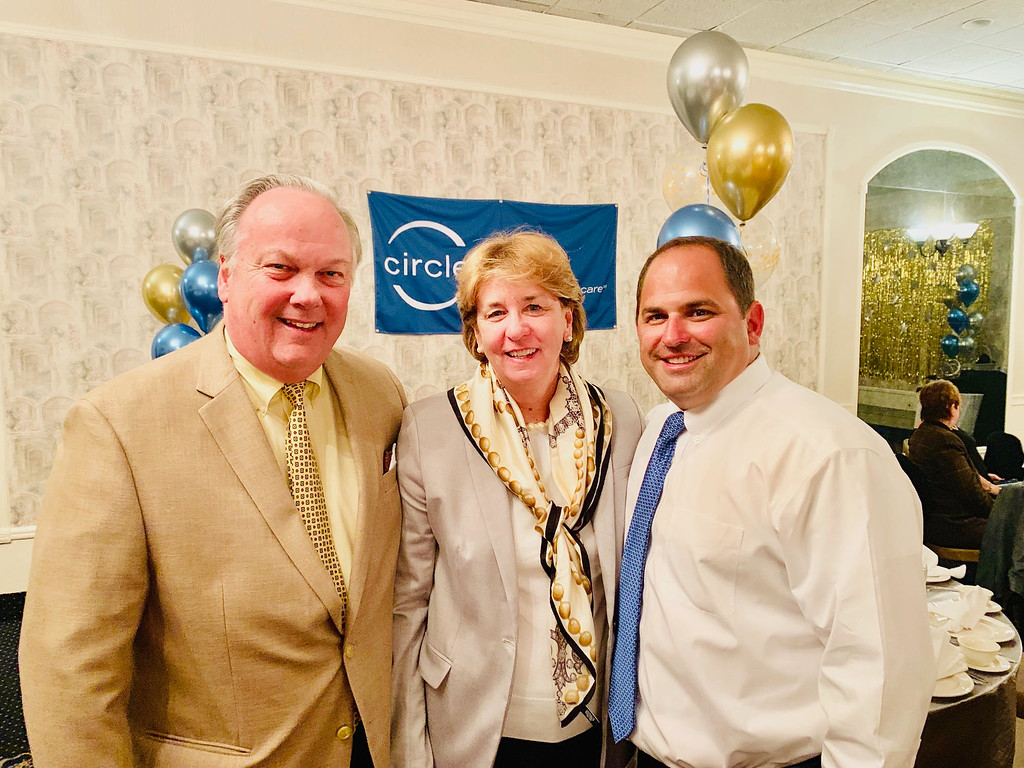 . From left, Jim and Trisha O�Donnell, and David Hall, all of Lowell