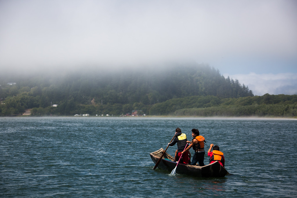 . Youth from the Yurok Tribe paddle a traditional Redwood Dugout Canoe towards Requa. (Ben Lehman - Contributed photo)