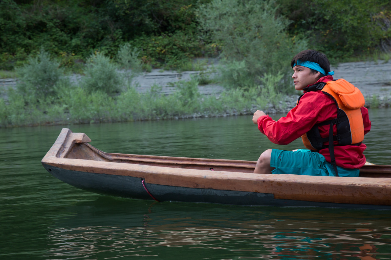 Jon-Luke Gensaw, Age 19, paddles a redwood dugout canoe. (Weston Boyles - Contributed photo)