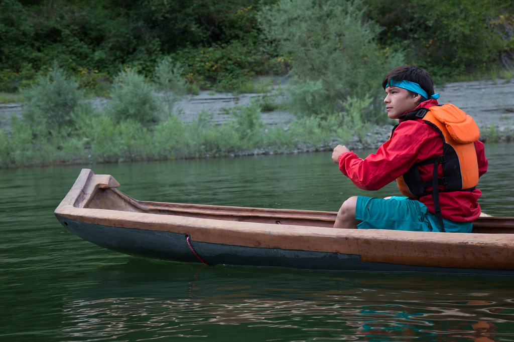 . Jon-Luke Gensaw, Age 19, paddles a redwood dugout canoe. (Weston Boyles - Contributed photo)