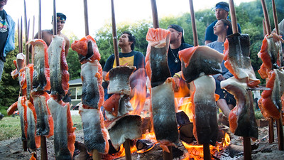Traditional salmon roast at the Ah-pah village site.  (Weston Boyles - Contributed photo)