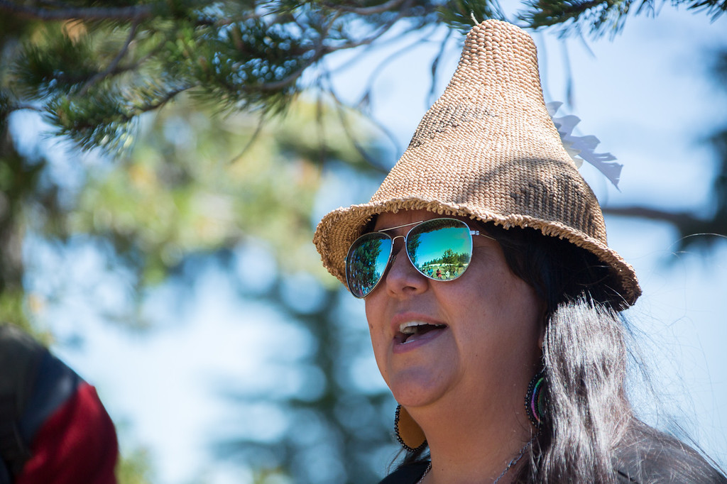 . Klamath Tribes\' member, Taylor Tupper, tells the creation story of her people at Crater Lake, Oregon. (Ben Lehman - Contributed photo)