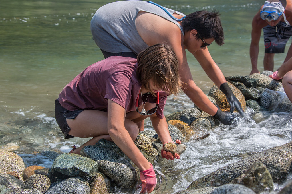 . Ríos to Rivers students take part in helping to improve salmon passage at the mouth of Ukonom Creek with the Mid Klamath Watershed Council.  (Ben Lehman - Contributed photo)