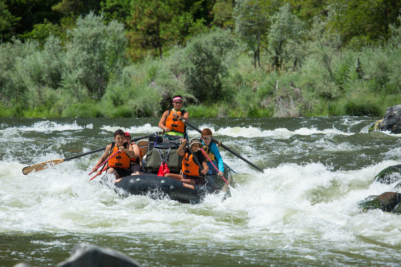 Talon Williams, a raft guide with the Warrior Institute, leads his raft team through one of the many rapids on the Klamath River. (Ben Lehman - Contributed photo)
