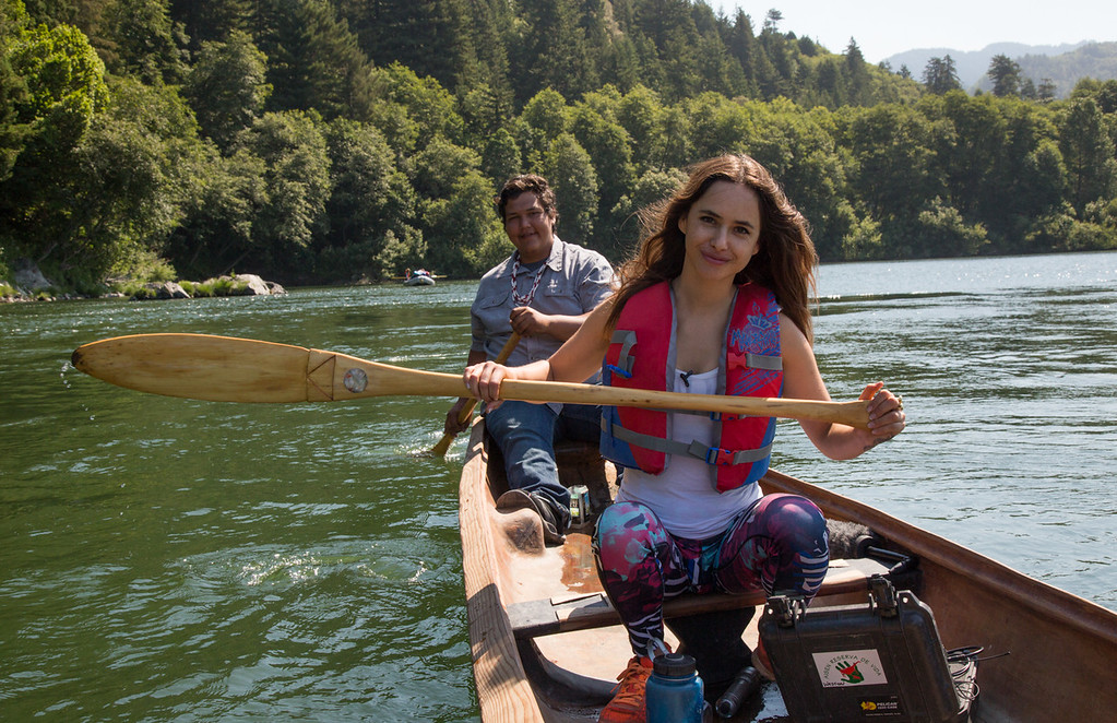 . Chilean Actress Juanita Ringleing Vicuña and Sammy Gensaw, a Klamath native, paddle a traditional redwood dugout canoe to the final celebration with the Rios to Rivers program in Requa. (Weston Boyles - Contributed photo)