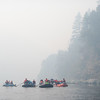 The Ríos to Rivers expedition moves through a blanket of smoke on the Klamath River near Ukonom Creek. (Ben Lehman - Contributed photo)