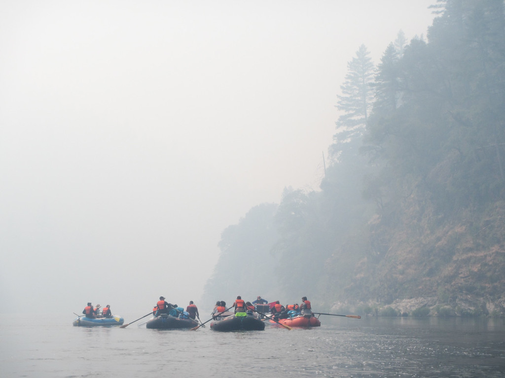. The Ríos to Rivers expedition moves through a blanket of smoke on the Klamath River near Ukonom Creek. (Ben Lehman - Contributed photo)