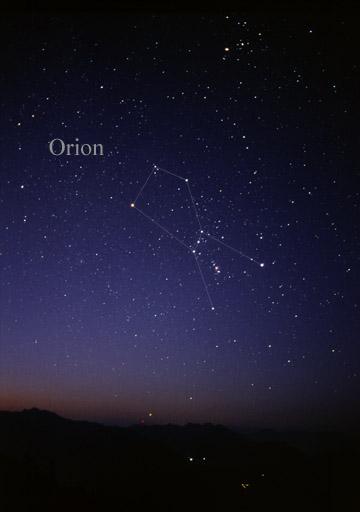 Souhvězdí Orion hvězdné nebe