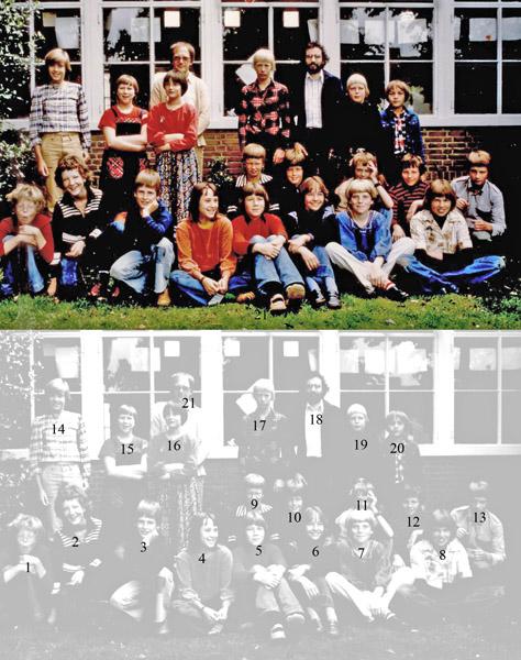 F4230 <br /> Openbare school Kastanjehof 1978, klas 6. Foto: 1978.<br /> <br /> 1Egbert-Jan Dros<br /> 2Peter Tilma,<br /> 3Robbert-Jan Ciggaar<br /> 4Marieke Henstra<br /> 5Heleen Agterhuis<br /> 6Renske Appelo<br /> 7Fabiola van Houwelingen<br /> 8Arianne van der Dool<br /> 9Erik Hartel<br /> 10Victor Kreffer<br /> 11Martin van Dorp<br /> 12Jan-Willem Heyl, <br /> 13Michel Louis<br /> 14Ilse van der Boog,<br /> 15Angelique Dijkman<br /> 16Brenda Waijer<br /> 17Rene de Graaf<br /> 18Daan van de Wege<br /> 19Bob-Jan ten Broeke<br /> 20Bart Sabel, <br /> 21Edo Weerts.