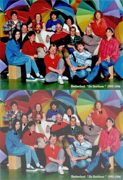 KL0041 Basisschool De Startbaan team 1995-1996<br /> <br /> 1Pien Mens<br /> 2Hans Helweg<br /> 3Josien van der Werf<br /> 4Emmy Berntzen<br /> 5Annelies van Reep<br /> 6Riet Scholten<br /> 7Annekoos<br /> 8Ineke Koppen<br /> 9Piet Zuijderwijk<br /> 10Frans van der Meij<br /> 11Brigit van Ham<br /> 12Petra Pennings<br /> 13José van der Zanden<br /> 14Carla de Haan<br /> 15Hilde Hoogervorst