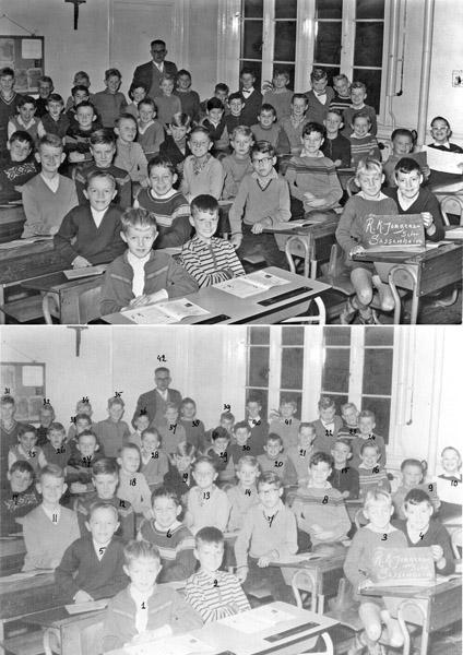 Fcs0111<br /> <br /> R.K.Jongensschool 1960-1961.<br /> <br /> 1Frans Langelaan<br /> 2Hans Overdevest<br /> 3Ed v.d. Poel<br /> 4Kees Schink<br /> 5Karel Grimbergen<br /> 6Dick Noordermeer<br /> 7Frans Driessen<br /> 8Bald v.d. Kraan<br /> 9Karel Lindaard<br /> 10Gerard Lascaris<br /> 11Ton Reeuwijk<br /> 12Clemens van Steijn<br /> 13Frans Jonkman <br /> 14André van Dijk<br /> 15Theo van der Vlugt<br /> 16        Gerard van Duivenbode<br /> 17        Joop Wolvers<br /> 18Aad van Polanen<br /> 19nb<br /> 20Theo van Leeuwen<br /> 21Ad van der Meer<br /> 22Ton Huiskamp<br /> 23Wim van Vliet<br /> 24Ruud Meijer<br /> 25Aad van der Zwet<br /> 26Joop van der Holst<br /> 27Leo van Nobelen<br /> 28Ed  Vaasen<br /> 29Ton Bisschop<br /> 30Ton van Leeuwen<br /> 31Louis Jonkman<br /> 32Ton Smit<br /> 33Rob Boekel<br /> 34nb<br /> 35 Henk van Beek<br /> 36Adrie van Dorp<br /> 37Hans  Kraan<br /> 38nb<br /> 39? Jongheer<br /> 40   Ton van Bergen-Henegouwen<br /> 41Ton  Elferink<br /> 42meester Booij