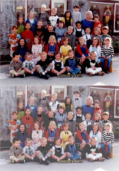 KL0017 De Overplaats Groep 1-2 1998-1999<br /> <br /> 1Raviar Karim<br /> 2Femke van Wensveen<br /> 3Renzo Rozenbroek<br /> 4Lotte Vink<br /> 5Hajo Nieboer<br /> 6Robin van Schaik<br /> 7Stefanie Kuiper<br /> 8Josje Kagernaar<br /> 9Riane de Vreugd<br /> 10Ashley Borst<br /> 11Kim van Kooten<br /> 12Romy Wielinga<br /> 13Michelle Wouters<br /> 14Jelle van Ooyen<br /> 15Peter Koomen<br /> 16Dennis Broer<br /> 17Allysa Kowalewski<br /> 18Jessica van der Geer<br /> 19Daniél Visser<br /> 20Ruben Haver<br /> 21Laurens Oomen<br /> 22 Hoyte de Jong<br /> 23Dirk-Jan Remerink<br /> 24Laura Cohen<br /> 25Zjoske Bates<br /> 26Stefan van Leeuwen<br /> 27Christiaan Langeveld<br /> 28Nurçan Sahin<br /> 29MatsWarmerdam<br /> 30Riet Scholten<br /> 31Yvonne van Oorschot