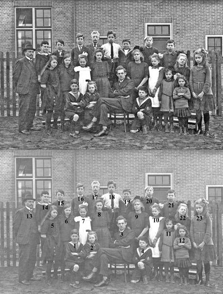 F2038  <br /> Klassenfoto van de School met den Bijbel.  Foto: 1922.<br /> <br /> 1<br /> 2<br /> 3meester de Boer<br /> 4<br /> 5<br /> 6<br /> 7<br /> 8<br /> 9<br /> 10<br /> 11<br /> 12<br /> 13meester Vercouteren<br /> 14<br /> 15<br /> 16<br /> 17<br /> 18<br /> 19<br /> 20<br /> 21<br /> 22<br /> 23