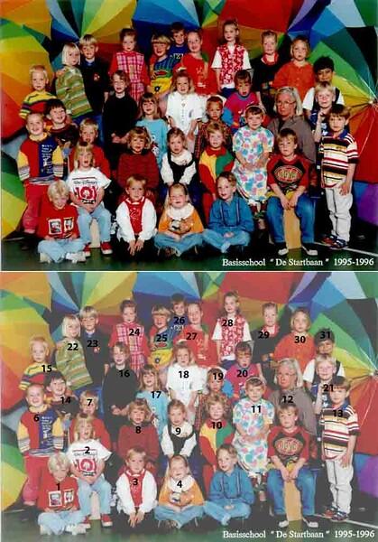 KL0040  Basischool De Startbaan, 1995-1996 <br /> <br /> 1Davy Weijers<br /> 2Jessie Wernars<br /> 3Bob Dekker<br /> 4Linda Klomp<br /> 5Luuk Spruit<br /> 6Dyon Koning<br /> 7André Koster<br /> 8Roos van der Zaag<br /> 9Charlotte Rosenkötter<br /> 10Maartje Klein<br /> 11Lisette van der Heiden<br /> 12Riet Scholten<br /> 13Rick Heemskerk<br /> 14Devin Waasdorp<br /> 15Jeroen Duijndam<br /> 16Maartje Lammerse<br /> 17Lisa van Hoekelen<br /> 18Shirley Ashley van der Poel<br /> 19Tom Louis<br /> 20Leonie Volwater<br /> 21Dennis de Vries<br /> 22Kirsten Rotteveel<br /> 23Jan van der Vlugt<br /> 24Loes Aanhane<br /> 25Floris Zonjee<br /> 26Jeffrey Turenhout<br /> 27Simone Baas<br /> 28Kirsten Rozenbroek<br /> 29Mandy Verschie<br /> 30Ymke Thans<br /> 31Nadim el Mouzakzak<br /> 32 Dennis Koot