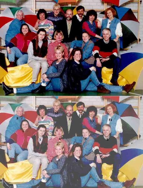 KL0038             Startbaan team 1994-1995.<br /> <br /> 1Jose Paretse<br /> 2Emmy Bernzen<br /> 3Josien van der Werf<br /> 4Pien Mens<br /> 5Petra Pennings<br /> 6Frans van der Meij<br /> 7Brigitte van Ham<br /> 8Riet Scholten<br /> 9Carla de Haan<br /> 10Annelies van der Reep<br /> 11Piet Zuijderwijk<br /> 12Leo van Steijn<br /> 13Jose van der Zanden<br /> 14Hide Hoogervorst