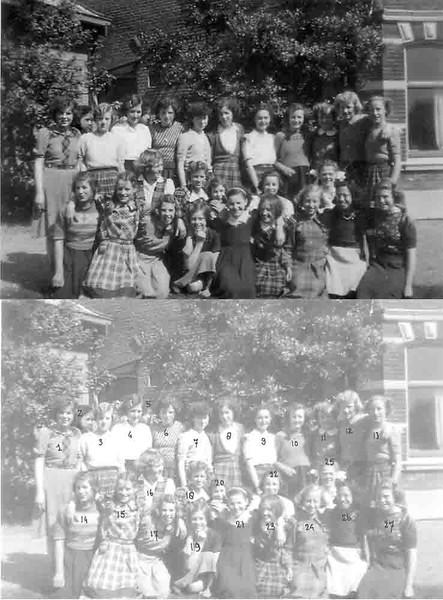 Fcs0580<br /> Klassenfoto van de Don Bosco-school 1e klas ulo, 24 April 1951.<br /> <br /> 1Dymphi v.d.Staak<br /> 2Yvonne Baller<br /> 3Bep Weijers<br /> 4Aly Zwetsloot (de Engel)<br /> 5Jeanette Baller<br /> 6Ada van Noort (de Engel)<br /> 7Riet Schrama<br /> 8Tiny Lascaris<br /> 9Wil Dijsselbloem (Voorhout)<br /> 10Netty Zandbergen (Warmond)<br /> 11Bep  v. d. Vooren (Warmond)<br /> 12Nel Verbij<br /> 13Ria Elstgeest<br /> 14Dora Blom<br /> 15Cock Verkleij<br /> 16Joke  v. d. Vlugt<br /> 17Jeanne Guldemond (Warmond)<br /> 18Lia Hogervorst (Noordwijkerhout)<br /> 19Leny de Groot (Voorhout)<br /> 20Corry  v. d. Zon (de Engel)<br /> 21Hella  v. d. Kamp<br /> 22Greet Bemelman (Noordwijkerhout)<br /> 23Toos Prins (Voorhout)<br /> 24Gerry van Spelde<br /> 25Leny Koot (Noordwijkerhout)<br /> 26Tineke Stikkelbroek (Noordwijkerhout)<br /> 27Sjaan Haver