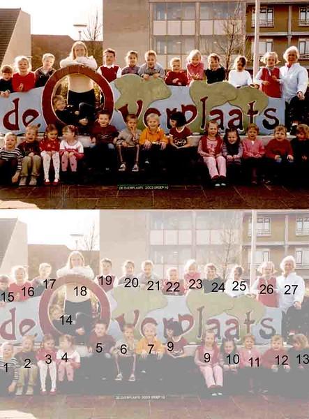 KL0027De Overplaats groep 1-2, 2003<br /> <br /> 1Luc van Ruiten<br /> 2Rick van Leeuwen<br /> 3Julia Borgers<br /> 4Kimberly van de Bogaard<br /> 5Justin Keereweer<br /> 6Marc de Boer<br /> 7Nando Buurman<br /> 8Medine Yetim<br /> 9Annelies Severenes<br /> 10Benice Wielinga<br /> 11Femke van Stein<br /> 12Bram van Kooten<br /> 13Veerle van Reisen<br /> 14Jesse Caseley<br /> 15Francesco Varga<br /> 16Willemijn van der Wal<br /> 17Wessel Warmerdam<br /> 18Irene Verdijk<br /> 19Ruben Oomen<br /> 20Channah Kuiper<br /> 21Roy Wouters<br /> 22Jens Reeuwijk<br /> 23Tessa Noordervliet<br /> 24Thijs Latten<br /> 25Amina Mastouri<br /> 26Marleen van der Heyden<br /> 27 Riet Scholten<br /> Floortje Timmer was ziek