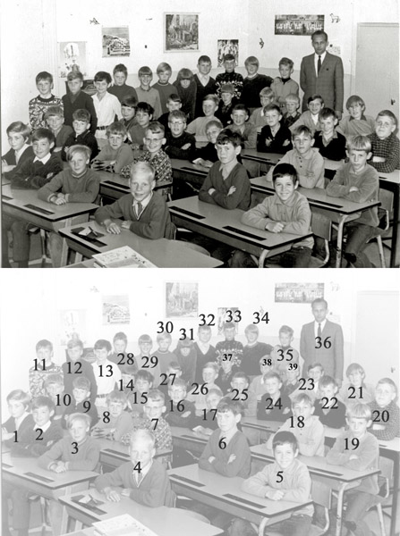 KL0003  St. Antoniusschool klas 5 1966-1967<br /> <br />  1 Jos Witteman<br />  2 Heinze Oost<br />  3 Stef van Kesteren<br />  4 Bennie Beijk<br />  5 Marcel Hoogervorst<br />  6 Ruud Koelewijn<br />  7 Jos van der Poel<br />  8 Wim van Beek<br />  9 Jos van der Vlugt<br />  10 Koos Ritzen<br />  11 Kees van Dam<br />  12 Harrie Berg<br />  13 Jan Hoogervorst<br />  14 Kees Kiebert<br />  15 Bennie Offerbeek<br />  16 Ben van der Voort<br />  17 Harrie Schrier<br />  18 Jan Noordermeer<br />  19 Wils Smit<br />  20 Leo van der Elst<br />  21 Piet Beelen<br />  22 Wil van der Lans<br />  23 Reinier van der Vlugt<br />  24 Paul Spruit<br />  25 Piet Sep<br />  26 Frans Reeuwijk of A. v.d. Geest<br />  27 Harold Matze<br />  28 Rob van Diest<br />  29 Ton Turenhout<br />  30 Rob Havenaar<br />  31 Mario Koning<br />  32 Ko van der Krogt<br />  33 Jan van der Voort<br />  34 Jan van der Meij<br />  35 Gerard Brouwer<br />  36 Meneer van der Zanden<br />  37 John Jansen<br />  38 Pieter van Vliet<br />  39 Niek Meeuwissen