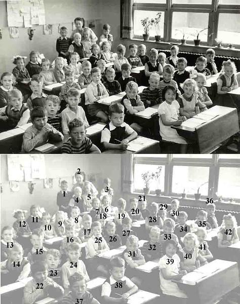 F1873 <br /> Klassenfoto  Hervormde School, juni 1952<br /> <br /> 01Teun Verbree<br /> 02Juffr. Guldenmond<br /> 03Sjors van de Wagt<br /> 04Arie van Dijk<br /> 05Ebi Kwint<br /> 06Ineke Broer<br /> 07Willy Bij<br /> 08Els Kapteyn<br /> 09Kien de Nobel<br /> 10Gerda van de Plas<br /> 11Jennie Kersten<br /> 12Coby Jamie?<br /> 13Tilly Drost<br /> 14Herman van Duin<br /> 15Reindert de Boer<br /> 16Ben van Tol<br /> 17Hans Bakker<br /> 18Riny de Bruin<br /> 19Kees Schaap<br /> 20Cees Molenaar<br /> 21<br /> 22Koos van der Zwart<br /> 23Herman  van der Laan<br /> 24Dik Krook<br /> 25Kees van de Voet<br /> 26Aad Koning<br /> 27Henk de Roo<br /> 28<br /> 29 Leen van der Niet<br /> 30Joost<br /> 31Bert Stolker<br /> 32Adam Roodenburg<br /> 33Mart Bakker<br /> 34Riny Brussee<br /> 35Aad Heijns<br /> 36Adrie Breedijk<br /> 37Robby Visser<br /> 38Max Kuppel<br /> 39Hideko Erentreich<br /> 40Gerda Overvliet<br /> 41Joke Faas<br /> 42Katie Elstgeest