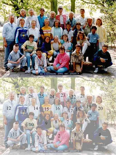 KL0014 De Kinderburg, 1986-'87<br /> <br /> 1Paula van Nobelen 03-05-'75<br /> 2Sandra van der Meij 15-06-'74<br /> 3Ferena Methorst 25-03-'75<br /> 4Patrick van Hal 04-03-'75<br /> 5Prewien Tewarie ? 06-06-'75<br /> 6Heidi Vogel 27-12-'73<br /> 7Cindy Bruins 25-09-'75<br /> 8Evelien Meeuwissen 23-09-'75<br /> 9Chantalvaan Duijn 26-02-'75 <br /> 10Bianca de Zwart 31-10-'73<br /> 11John de Zwart 16-03-'75<br /> 12mijnheer van der Zanden<br /> 13Menno de Goeij 05-06-'75 <br /> 14Bernd van Onselen 07-02-'75<br /> 15Tineke Ijsselmuiden 31-05-'75<br /> 16Kiki Duinhoven 07-10-'74<br /> 17Piet Langeveld 26-02-'74<br /> 18Jacques van den Burg 12-10-'74 <br /> 19Paula Leuvend  (lerares)<br /> 20Mandy Wolvers 13-12-'74<br /> 21Sandra Homan 03-01-'74<br /> 22Inge Langeveld 20-05-'74<br /> 23Renate Roelevink 22-12-'74<br /> 24Irene Lugtigheid 08-05-'74<br /> 25Claudia Berge Henegouwen 31-10-'74<br /> 26Daphne Groeneveld 08-05-'75 <br /> 27Debby Zeestraten 18-03-'75