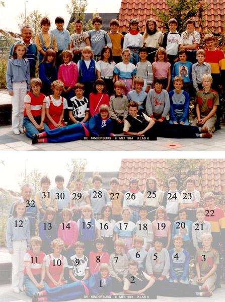 KL0011    De Kinderburg, Meneer van der Zanden, 1983-'84<br /> <br />  01 Angelique van de Lans 20-02-'71<br />  02 Marco Overdevest 28-07-'71<br />  03 Piet IJselmuiden 29-04-'72<br />  04 Marco Dobben 24-06-'71<br />  05 Martien van den Nouland 23-06-'71<br />  06 Erwin van Rijn 16-07-'72<br />  07 Robert Langeveld 10-09-'71<br />  08 Ria Remmerswaal 05-07-'72<br />  09 René Verkleij 30-09-'71<br />  10 Esther Dahlekamp 19-10-'71<br />  11 John Nijenhuis 03-05-'72<br />  12 Elles van der Meij 03-11-'71<br />  13 Suzanne Diependaal 07-03-'72<br />  14 Mira van Tol 26-09-'71<br />  15 Suzanna Overdevest 26-01-'72<br />  16 Isabella van de Plas 16-02-'72<br />  17 Mascha van Reenen 12-03-'72<br />  18 Renata Wijdh 07-06-'72<br />  19 Marcia Donker 30-05-'72<br />  20 Paul Steenkist 30-09-'71<br />  21 Ronald van de Kort 24-08-'72<br />  22 Pascal Klein 28-10-'71<br />  23 Martij van Nobelen 21-04-'72<br />  24 Gert-Jan Langeveld 07-05-'72<br />  25 Nathalie Blom 08-04-'72<br />  26 Sabrine Kloek 02-08-'71<br />  27 Roland Elfering 11-05-'72<br />  28 Donald Van Leeuwen 24-06-'72<br />  29 Olaf Bierman 16-11-'71<br />  30 Leon van de Post 25-08-'71<br />  31 Karin van der Lans 25-04-'72<br />  32 Meneer van der Zanden