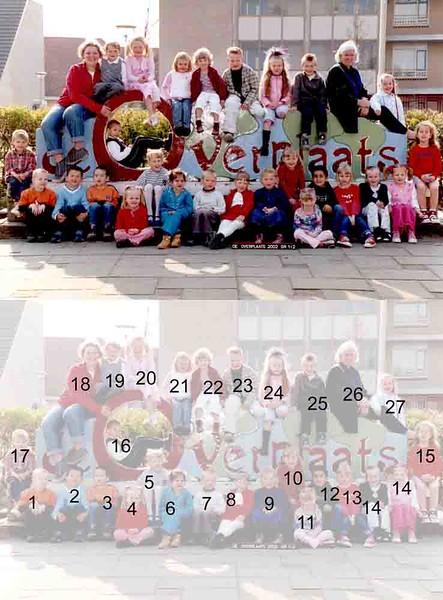 KL0026  De Overplaats groep 1-2, 2002<br /> <br /> 1Wessel Warmerdam<br /> 2Ruben Oomen<br /> 3Brian van der Westerlaken<br /> 4Marleen van der Heyden<br /> 5Francesca Rombouts<br /> 6Chanah Kuiper<br /> 7Jesse Caseley<br /> 8Kimberly van de Bogaard<br /> 9Floortje Timmer<br /> 10Miranda Borst<br /> 11Daimy Mulder<br /> 12Arend Haver<br /> 13Tessa Noordervliet<br /> 14Yes de Jong<br /> 15Willemijn van der Wal<br /> 16Roy Wouters<br /> 17Jaromir Palthe<br /> 18Denise van Zonneveld<br /> 19Thijs Latten <br /> 20Maxime Meiland<br /> 21Julia Borgers<br /> 22Veerle van Reisen<br /> 23Lex Duindam<br /> 24Naomi Keereweer<br /> 25Damian Willems<br /> 26Riet Scholten<br /> 27Laura Langeveld