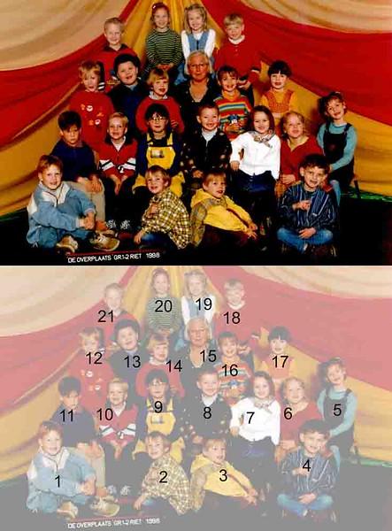 KL0023 Overplaats,groep 1-2 (1997-1998)<br /> <br /> <br /> 1Martijn Duindam<br /> 2Hoyte de Jong<br /> 3Hajo Nieboer<br /> 4Dirk-Jan Remerink<br /> 5Anne Rutgrink<br /> 6Zjoske Bates<br /> 7Josje Kagenaar<br /> 8Dennis Broer<br /> 9Jip van Dam<br /> 10Renzo Rozenbroek<br /> 11Jelle van Ooyen<br /> 12Willem Oostendorp<br /> 13Juan Fuentes<br /> 14Rosanne Krijt<br /> 15Riet Scholten<br /> 16Femke Overdevest<br /> 17Jessica van der Geer<br /> 18Brain Schalker<br /> 19Lisa Heuer<br /> 20Esmee van Reisen<br /> 21Christiaan Langeveld