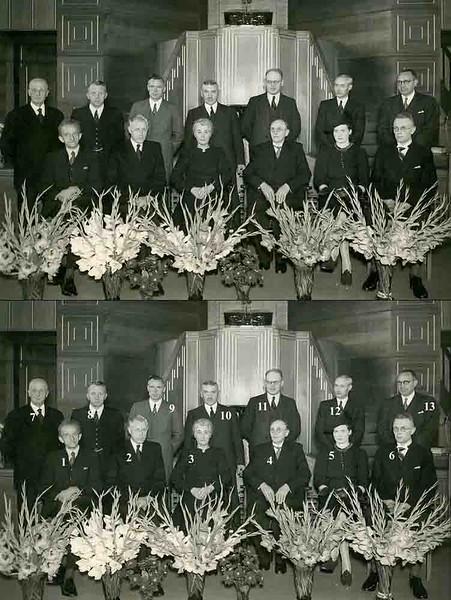 F4003Afscheid van P.J. Vercouteren, hoofd van de De Visserschool in september 1941 in de gereformeerde kerk. <br /> <br /> 01dhr. Oostenrijk<br /> 02dhr. Vogelaar <br /> 03mevr. Vercouteren<br /> 04meester P.J. Vercouteren<br /> 05mevr. Efferink<br /> 06meester Efferink  nieuw hoofd der school<br /> 07<br /> 08<br /> 09dhr Limburg<br /> 10dhr. Bergman<br /> 11dhr. Oudshoorn<br /> 12<br /> 13