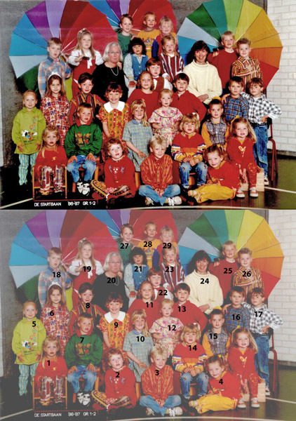 KL0037 De  Startbaan groep 1-2,1996-1997<br /> <br /> 1Marloes Lammerse<br /> 2Maartje Klein<br /> 3Davy Weyers<br /> 4Manon van der Meer<br /> 5Linda van Dijk<br /> 6Jaqueline van Veenendaal<br /> 7Leo Koster<br /> 8Devin Waasdorp<br /> 9Lisette van der Heiden<br /> 10Jessie Wernars<br /> 11Ymke Thans<br /> 12Lisa Dekker<br /> 13Tom Sluymer<br /> 14Roos van der Zaag<br /> 15Kisten Rozenbroek <br /> 16Rick Heemskerk<br /> 17Jeffrey Turenhout<br /> 18Dennis Koot<br /> 19Shirley Ashley v. der Poel<br /> 20Riet Scholten<br /> 21Nadin el Mouzakzak<br /> 22Leroy van der Poel<br /> 23Pieter Volwater<br /> 24Sylvia, klasse assistente<br /> 25Jan van der Vlugt<br /> 26Dyon Koning<br /> 27Luuk Spruit<br /> 28Tom louis<br /> 29Linda Klomp<br /> 30Loes Aanhane