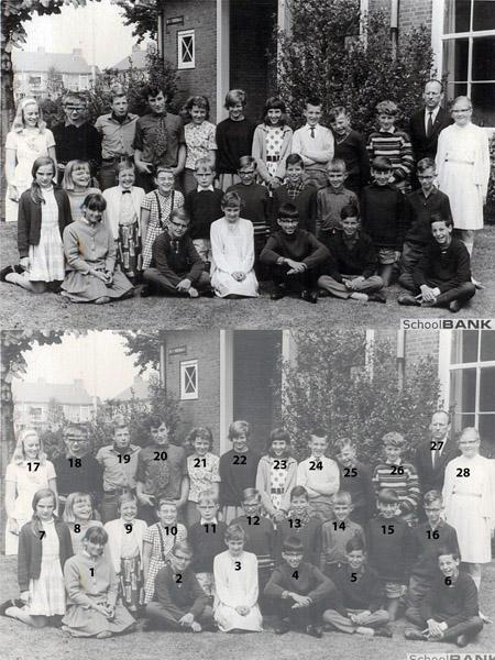 KL0035   Openbare Lagere School aan de Antoniuslaan, tegenwoordig Kastanjehof geheten, klas 6 1966-1967<br /> <br /> 1Corrie Hovius<br /> 2Arno Julsing<br /> 3Joke de Koning<br /> 4Lodewijk Koenen<br /> 5Rudy van der Kwast<br /> 6Bram van der Kwast<br /> 7Liesje Zuidema<br /> 8René Siebrand<br /> 9Karin Kleiverda<br /> 10Marijke de Jong<br /> 11Sjakie  Bijl<br /> 12John-Peter van Leeuwen<br /> 13Flip Bakker<br /> 14Klaas Gerken<br /> 15Jan Gorter<br /> 16John Zuidema<br /> 17Frieda Hoogkamer (Warmond)<br /> 18Piet Sjardijn<br /> 19Bert Braam<br /> 20Karel Hovius<br /> 21?<br /> 22Madeleine Julsing<br /> 23Nora Enthoven<br /> 24Philip Trap<br /> 25Robbie van Leeuwen<br /> 26Dicky van der Schatte - Olivier<br /> 27Meneer Hoeve<br /> 28Joke van Zundert