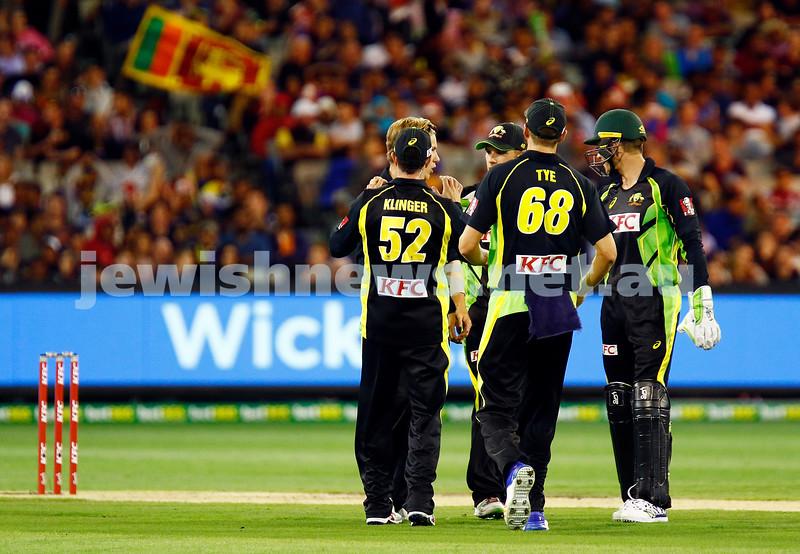 17-2-17. T 20 international, Australian v Sri lanka at the MCG. Michael Klinger debut for Australia makes 38 runs. Aus 6/168 lost to SL 5/172. Photo: Peter Haskin