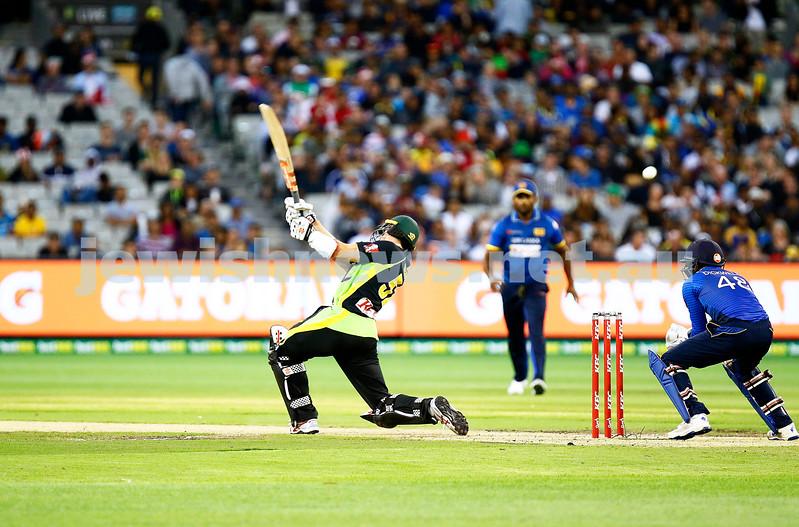 17-2-17. T 20 international, Australian v Sri lanka at the MCG. Michael Klinger debut for Australia makes 38 runs. Aus 6/168 lost to SL 5/172. Final ball of his innings, caught. Photo: Peter Haskin