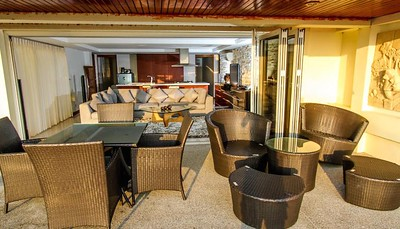 Serena two bedroom apartment outdoor dining and lounge area, Klong Khong, Ko Lanta