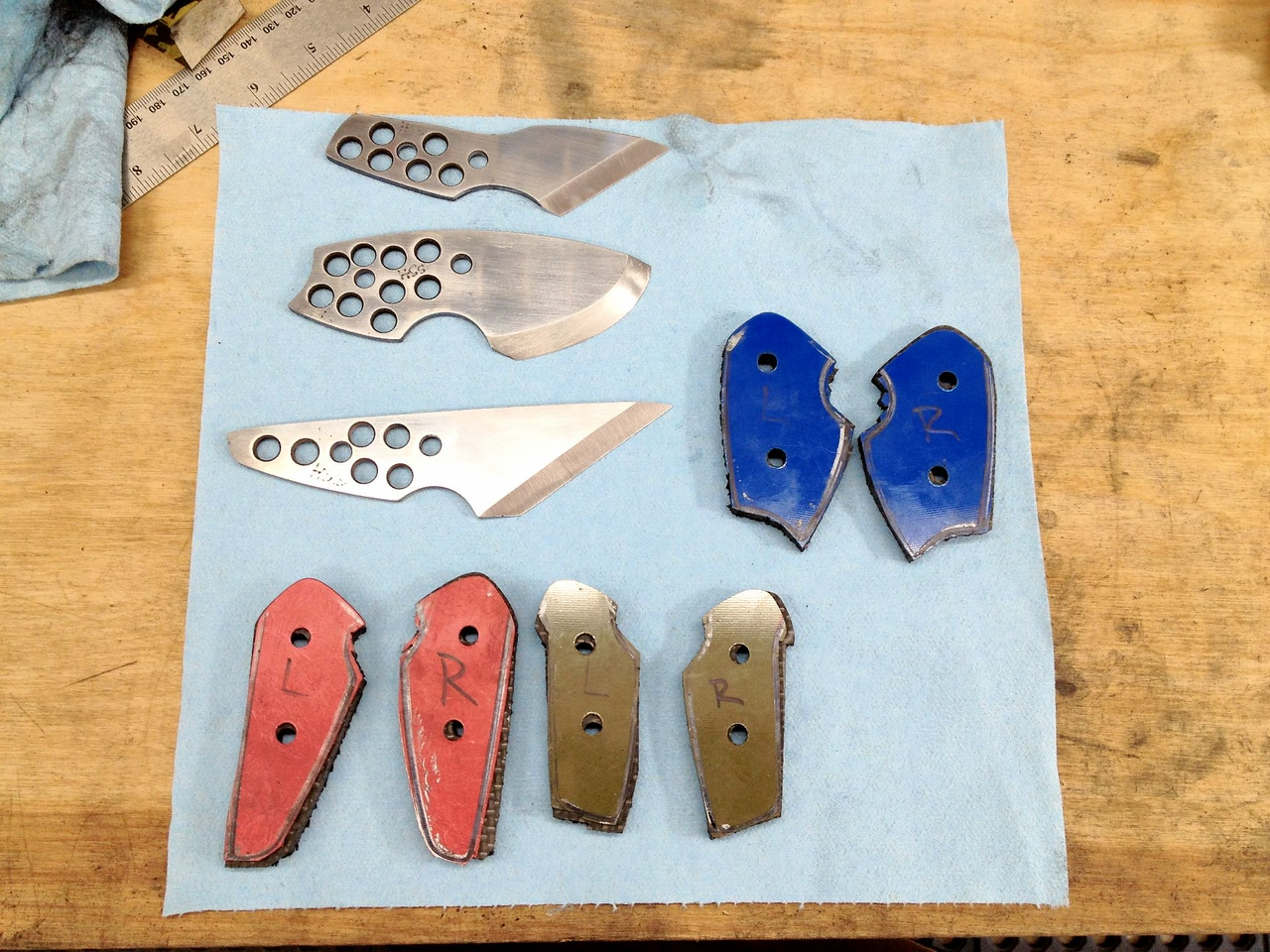 I was able to get all of the scales rough cut, all holes drilled, and the front of the scales shaped and sanded.<br /> <br /> I was hoping to get everything epoxied too, but my body started to crash and it was no longer safe for me to be in the shop.