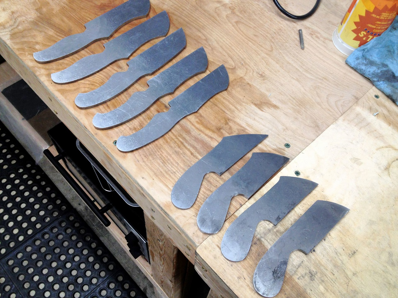 I got the 4 smaller knives profiled to their final shape before my body told me I was done for the day.