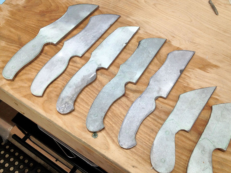 Here are the knives after bringing them close to their final shape on the platen.
