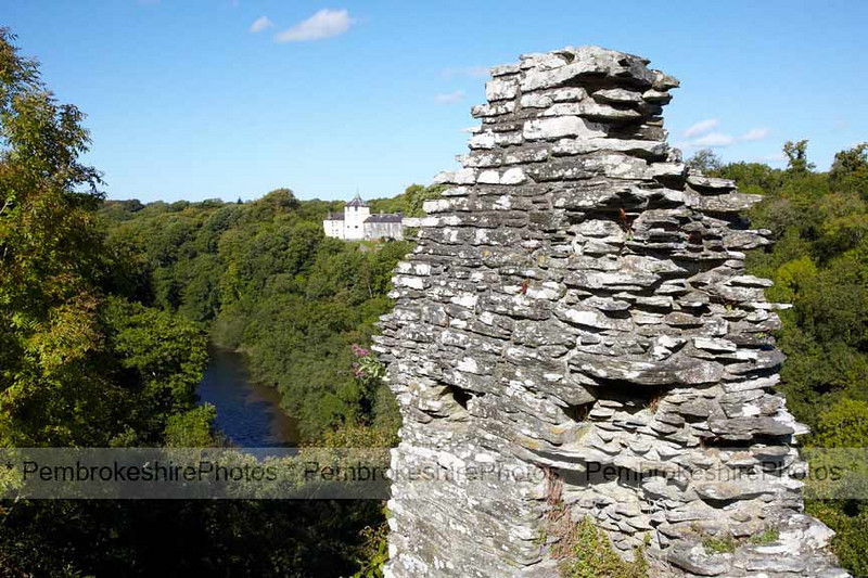 Cilgerran Castle, looking down over the River Teifi.