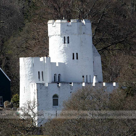 Benton Castle on the  bank of the Daucleddau.