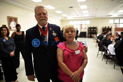 Knight of Columbus Royce Cheek and his wife Connie stand for a picture at an exemplification ceremony September 7 at St. Anthony Catholic Church in Wylie. (Jenna Teter/Special Contributor)