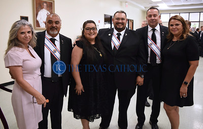 Jane Camarillo, from far left, stands with husband knight Ruben Camarillo, Juanita Tapia and her husband knight Jesse Tapia, and Sandra Mediano and her husband knight Omar Mediano at an exemplification ceremony September 7 at St. Anthony Catholic Church in Wylie. (Jenna Teter/Special Contributor)