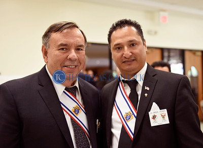 Larry Amidei, left, and Enrique Tarango at a 4th degree Knights of Columbus exemplification banquet September 7 at St. Anthony Catholic Church in Wylie. (Jenna Teter/Special Contributor)
