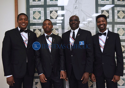 Patrick Chiazor, from left, Walter Olieh, Charles Osuh and Ikechukwu Chiazor attend a 4th degree Knights of Columbus exemplification banquet September 7 at St. Anthony Catholic Church in Wylie. (Jenna Teter/Special Contributor)