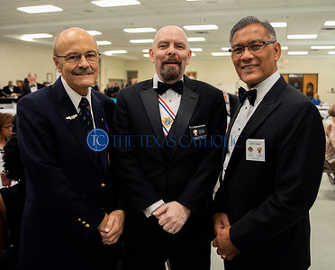 Knights of Columbus John Martens, from left, Brian Whitburn and Ben Oani attend an exemplification ceremony September 7 at St. Anthony Catholic Church in Wylie. (Jenna Teter/Special Contributor)