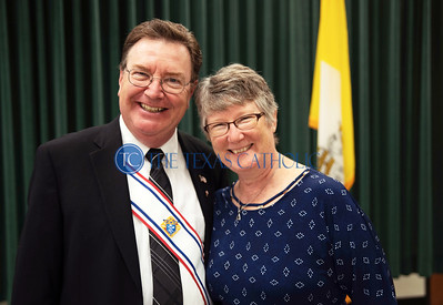 Knight of Columbus and deacon Doug Breckenridge stands for a picture with his wife, Debra, at an exemplification ceremony September 7 at St. Anthony Catholic Church in Wylie. (Jenna Teter/Special Contributor)