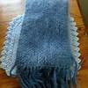 Sasha's birthday scarf, 2014.<br /> Blue Sky Alpacas yarn.  50% alpaca, 50% silk.  I believe the color is 149 Riviera.<br /> Also Rowan Kidsilk Haze.