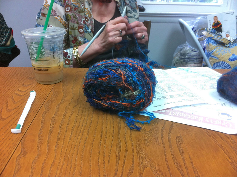 Carolyn knits with interesting colors. <br /> September 28th.