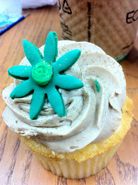 A beautiful cupcake leftover from the evening before.  I gobbled it down greedily.  It was later that day I learned of a study averring that fatigue can lead to craving fatty foods.  <br /> September 28th.