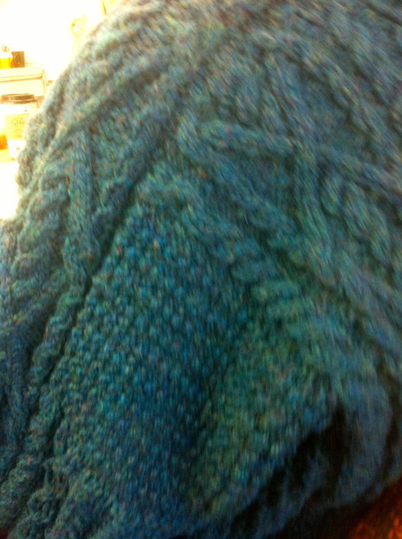 Some of the stitch work in Carolyn's sweater.