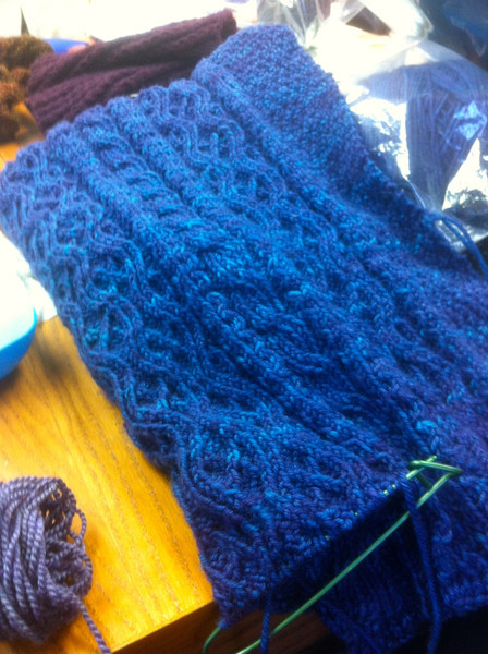 Carolyn's work in progress.  String Theory beautiful yarn.  Pic doesn't do color justice.  Sorry.<br /> January 22, 2012.