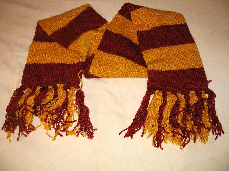 Harry Potter Scarf.  Pattern from atypically knit.